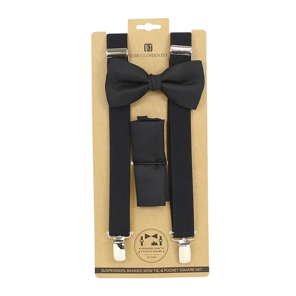 Men's Black Solid 3 PC Clip-on Suspenders, Bow Tie and Hanky Sets