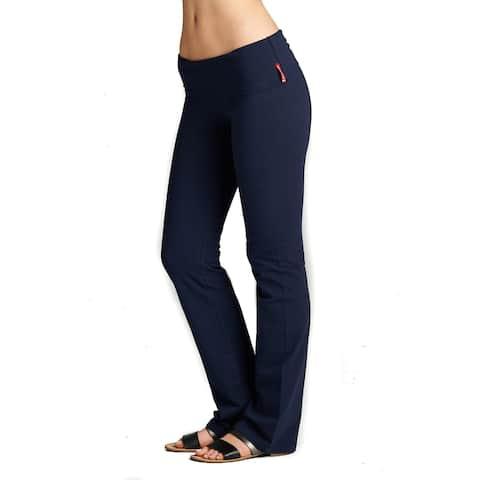 Simply Ravishing Yoga Pants Cotton Fold Over Waist Boot Cut (Size: S-3X)