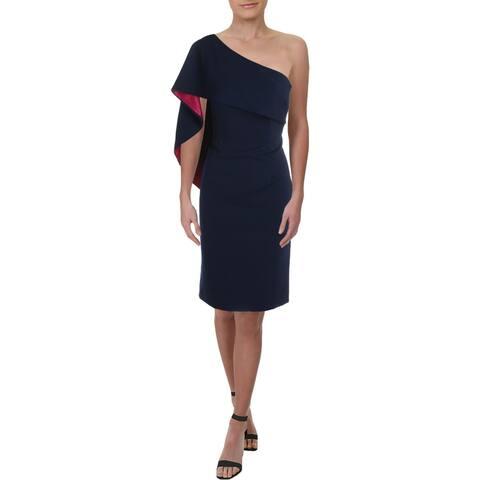 Carmen Marc Valvo Womens Cocktail Dress Overlay One-Shoulder