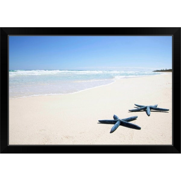 """Two blue starfish at water's edge on tropical beach, Riviera Maya"" Black Framed Print"
