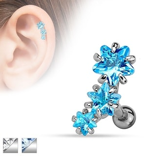 Triple Star CZ Set 316L Surgical Steel Cartilage/Tragus Bar (Sold Individually)