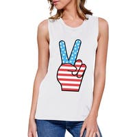 Peace Sign American Flag Unique Independence Day Muscle Top For Her