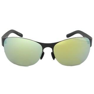 Link to Porsche Design Design P8581 A Oval Sunglasses | Black Frame | Green Lens - 61mm x 15mm x 135mm Similar Items in Women's Sunglasses