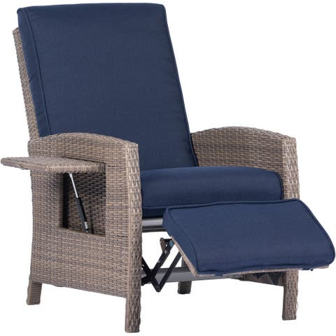 Hanover Portland Outdoor Recliner with Pop-Out Shelf in Navy Blue
