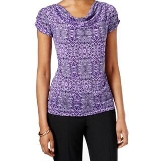Tahari by ASL NEW Purple Women's Size XS Printed Draped Neck Blouse