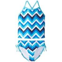 dcdb5dce0b9c6 Shop Speedo Green Blue Girl's Size 14 Chevron Tankini Set Swimwear ...