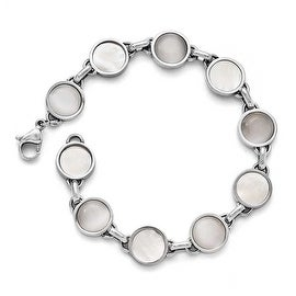 Chisel Stainless Steel Polished Cat's Eye and Mother of Pearl Bracelet