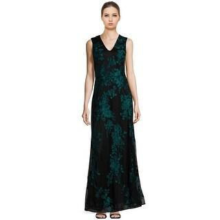 David Meister Floral Embroidered V-Neck Evening Gown Dress - 4