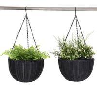 Costway Set Of Two 13.8'' Round PE Rattan Garden Plant Hanging Planters Decor Pots Black