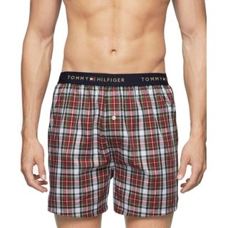 Tommy Hilfiger NEW Red Mens Size Small S Woven Plaid Boxer Underwear