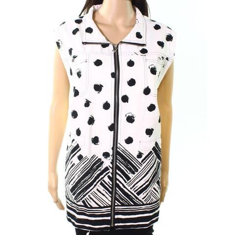 Erin London Womens Jacket White Size 1X Plus Printed Zip-Front Vest