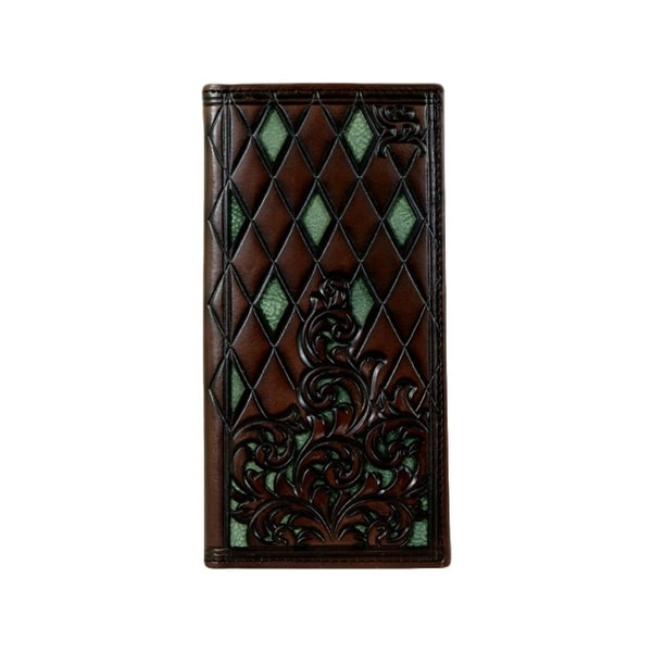 "HOOey Western Wallet Men Rodeo Signature Roughy Dark Brown - 3 1/2"" x 3/4"" x 7"""