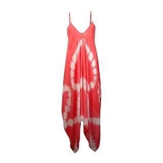 Raviya Women's Handkerchief Hem Maxi Dress Coverup (L, Coral) - L