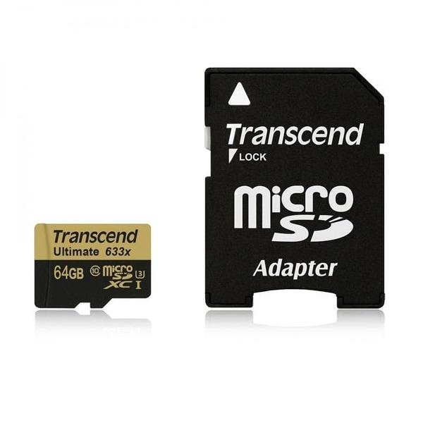 Transcend MISDXC64GU3 Micro SDXC 64GB UHS1 U3 633X Memory Card