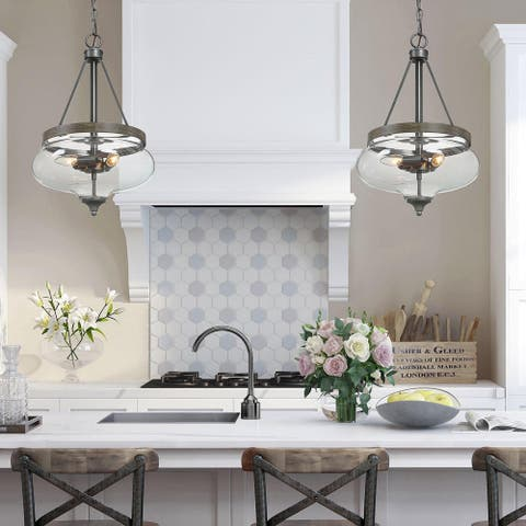 Modern 3-Light Wood Glass Ceiling Pendant Lights Chandeliers for Kitchen Island Dining, Living Room