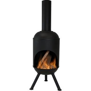 Sunnydaze Steel Outdoor Wood-Burning Chiminea Fire Pit, 5 Foot, Black