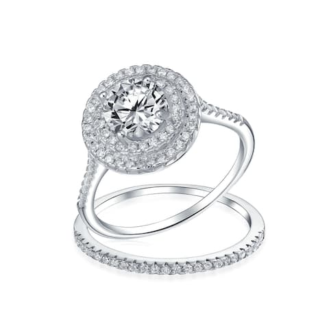 2CT Solitaire Band AAA CZ Engagement Wedding Ring Set Sterling Silver