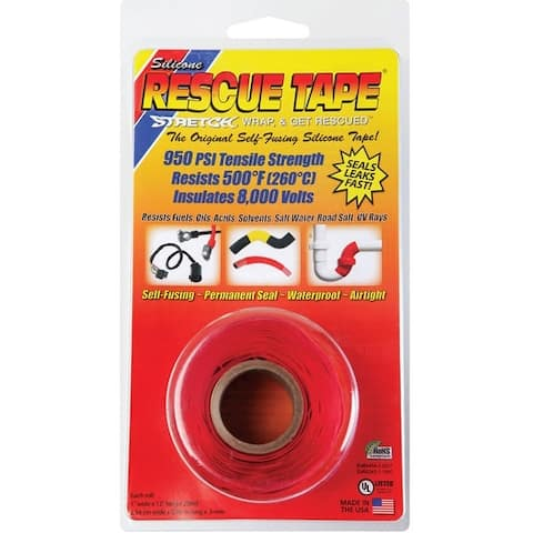 "Rescue Tape RT1000201202USC Silicone Repair Tape, Red, 1"" x 12'"