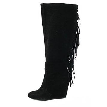 Carlos Falchi Womens Zoe Closed Toe Knee High Platform Boots
