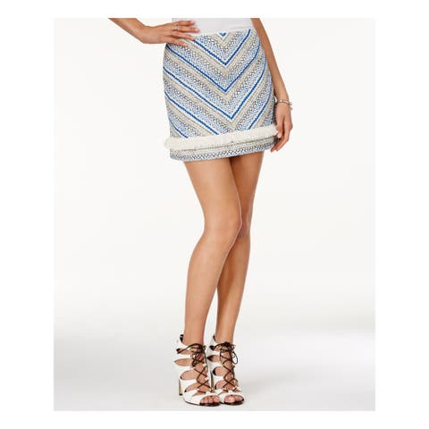 GUESS Womens Blue Textured Above The Knee A-Line Skirt Size L