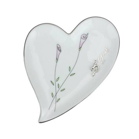 25th Silver Wedding Anniversary Heart Shaped Ring Holder #11082