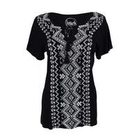 INC International Concepts Women's Embroidered Peasant Top - Deep Black - s