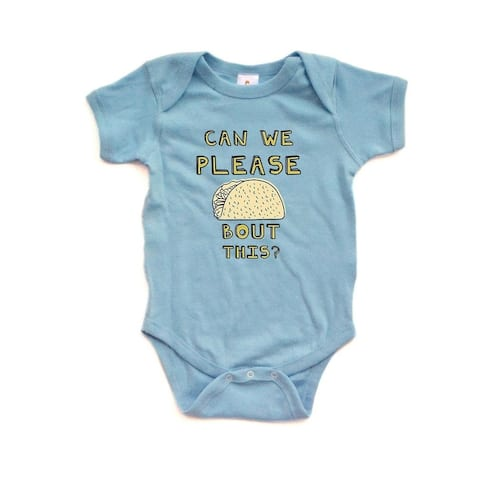 """Hilarious Pun """"Can We Please Taco Bout This"""" Funny Baby Cute Soft Cotton Bodysuit"""