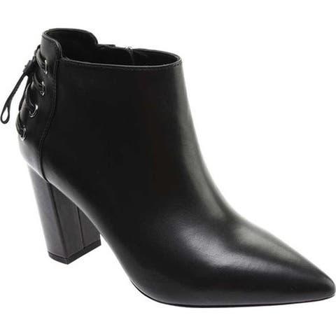 Rachel Zoe Women's Trixie Pointed Toe Leather Bootie Black Nappa Leather