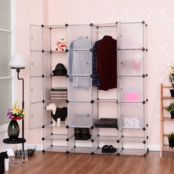 Costway DIY 16+8 Cube Portable Clothes Wardrobe Cabinet Closet Storage Organizer W/Doors & Costway DIY 16+8 Cube Portable Clothes Wardrobe Cabinet Closet ... Pezcame.Com