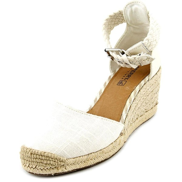 Sperry Top Sider Valencia Open Toe Canvas Wedge Heel