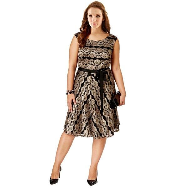 SLNY Fashions Plus Size Belted Metallic Lace Sleeveless Cocktail ...