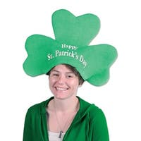 """Pack of 6 Green Plush """"Happy St. Patrick's Day"""" Shamrock Hat - Adult Sized"""