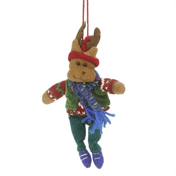 "7"" Bohemian Holiday Plush Moose Boy with Dangling Legs Christmas Ornament"