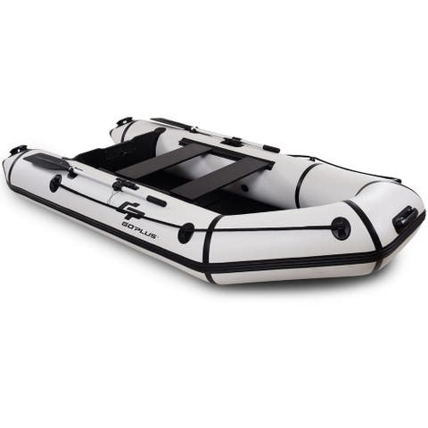 4-Person 10 ft Inflatable Dinghy Boat for Rafting Water Sports-Gray