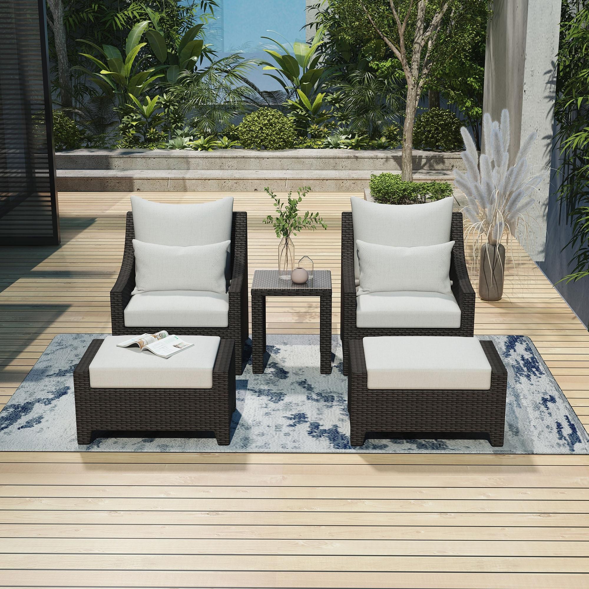 Amarantos 5 Piece Outdoor Sofa Conversation Set Wicker Club Chair And Ottoman Patio Furniture Set Deep Seating Overstock 31743411