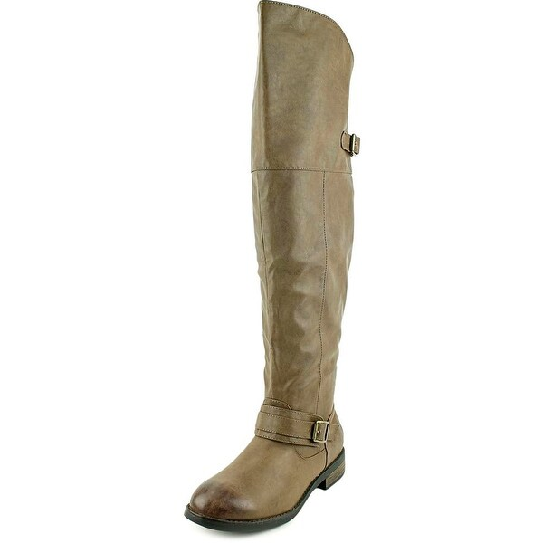 Restricted Playcheck Women Round Toe Synthetic Brown Over the Knee Boot