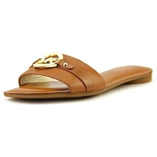 Michael Michael Kors Molly Slide Women Open Toe Leather Brown Slides Sandal