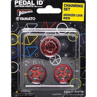 Pedal Id 1:9 Scale Bicycle: Chain Ring Set: Anodized Look Red - multi