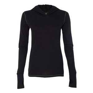 Women's Triblend Long Sleeve Hooded Pullover - Solid Black Triblend - S
