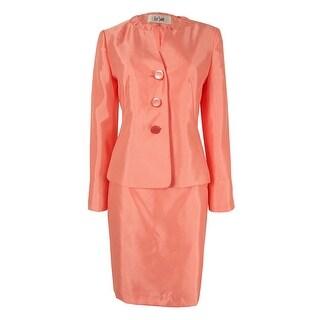 Le Suit Women's Three-Button Shantung Skirt Suit