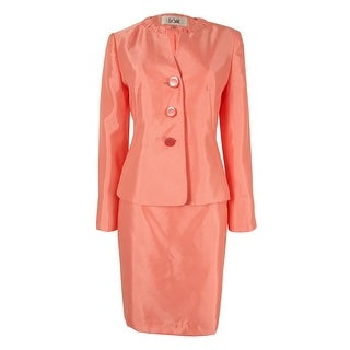 Le Suit Women's Three-Button Shantung Skirt Suit - Papaya
