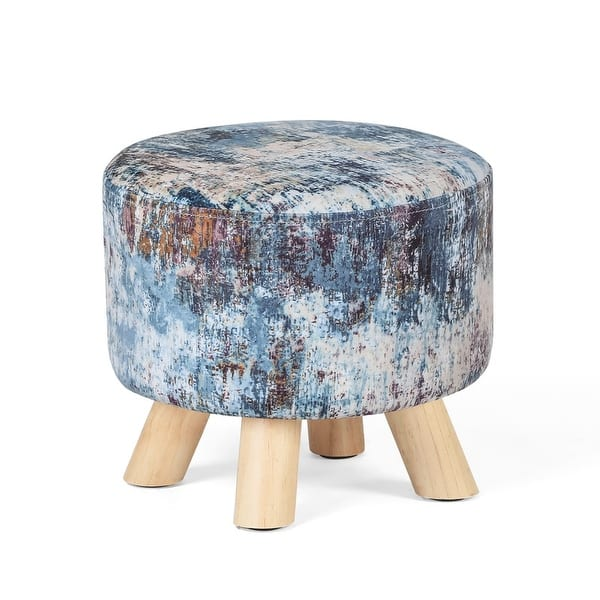 Adeco Round Ottoman Foot Rest Stool Fabric Padded Seat Cute Pouf Overstock 32496586
