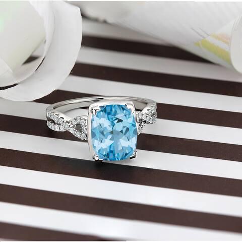 Auriya 3 9/10ct Cushion-cut Sky-blue Topaz and Diamond Engagement Ring 1/5ctw 14k Gold