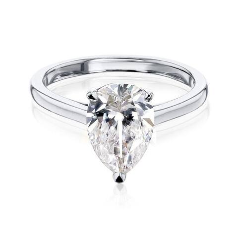 Annello by Kobelli 14k Gold Forever One Pauline Pear Solitaire Ring (DEF/VS)