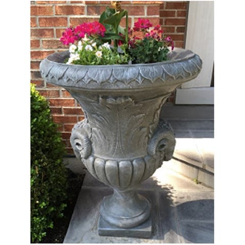 """Set of 2 White Finished Outdoor Decorative Urn Planters 37"""""""