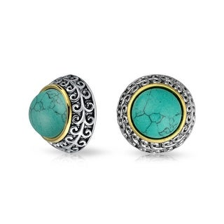 Bling Jewelry 3 Tone Reconstituted Turquoise Dome Clip On Earrings Gold Plated Alloy - Blue
