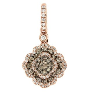 14k Rose Gold 0.71Ct SI2 Brown Diamond & G-H/I1 Natural Diamond Dangle Pendent By Prism Jewel