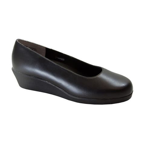 24 HOUR COMFORT Sofie Womens Wide Width Leather Wedge Shoes