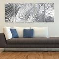 Statements2000 Silver Large Metal Wall Art Sculpture Panels by Jon Allen - Hypnotic Sands 5P - Thumbnail 1