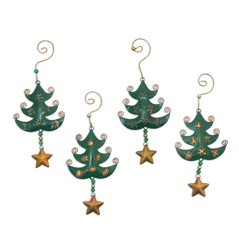 NOVICA Starry Trees, Steel ornaments (set of 4)